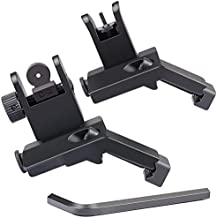 Feyachi 45 Degree Offset Iron Sights Flip Up BUIS Rapid Transition Backup Front and Rear Iron Sight Set Picatinny Weaver Rails