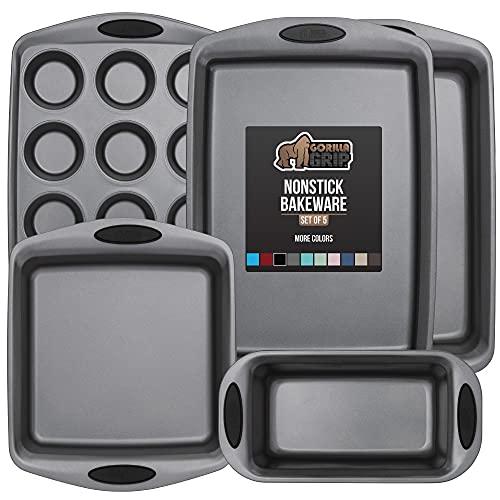 Gorilla Grip Bakeware Sets, Nonstick, Heavy Duty Carbon Steel, 5 Piece Kitchen Baking Set, Silicone Handles, Large Cookie Sheet, Oven Roaster Pan, Square Baking Pan, Loaf Pan, 12 Cup Muffin Pan, Black