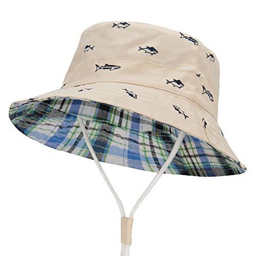 Durio Baby Sonnenhut Atmungsaktiv Sommerhut Kinder Fischerhut UV-Schutz Unisex Cap mit Verstellbarem Bindebändern Beige mit Fisch 54cm / XL(4-8 Jahre)