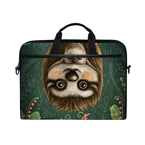 ZZAEO Jungle Hanging Cute Sloths Mom and Baby Laptop Shoulder Bag Stylish Briefcase Computer Bag with Shoulder Strap Fits for Most 13inch 14inch Laptops Case Sleeve
