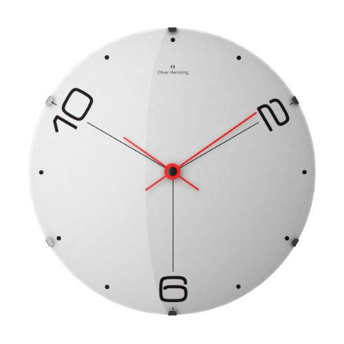 Hemming Oliver 10-2-6 Designer-Wecker, Kristallglas, gewölbter 37 cm Design Wanduhr, Weiß