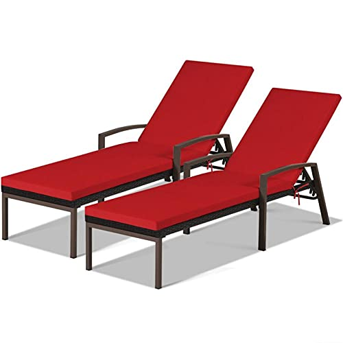 Patio Silla de salón, 2 unids Patio Rattan Lounge Silling Chaise Recliner Back Ajustable Ajustable Jardín Caja de Chaise Lounge por CHENGYSTE (Color : OP70262RE)