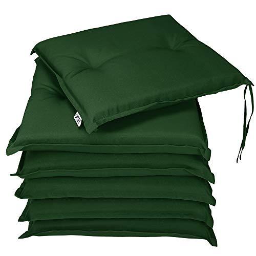 Detex® Stuhlauflagen Boston 6er Set Wasserabweisend Kissen Sitzkissen Stuhlkissen Auflage Sitzauflage Grün