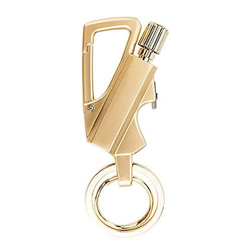 Lixada Porte-clés multifonction avec décapsuleur en pierre à feu et décapsuleur pour alpinisme, briquet rechargeable Kerosin, 2 pièces dorées.
