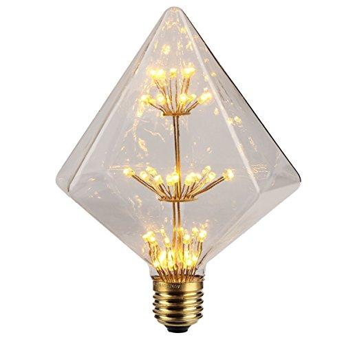 ダイヤモンド形 エジソン電球 KINGSO E26 3W 110V 复古ホーム照明 器具装飾用 調光器不対応 ガラスライト