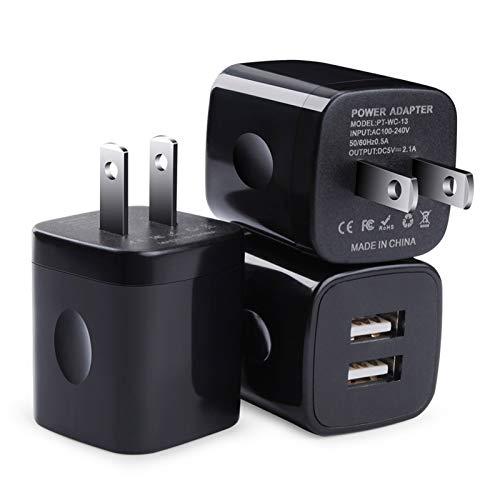 USB Wall Charger, Charging Block, FiveBox 3Pack Dual Port 2.1A Wall Charger Brick Base Charging Cube Plug Phone Charger Box Compatible iPhone XS Max/XR/X/8/7/6/6s, iPad, Samsung Galaxy S9 S8 S7 S6, LG