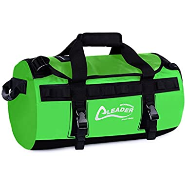 Leader Accessories Deluxe Water Resistant PVC Tarpaulin Duffel Bag Backpack (Green, 40L)