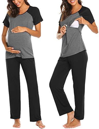 Ekouaer Women's Maternity Nursing Pajamas Set Soft Short-Sleeved Breastfeeding Tops and PJ Pants Sets (Black S)