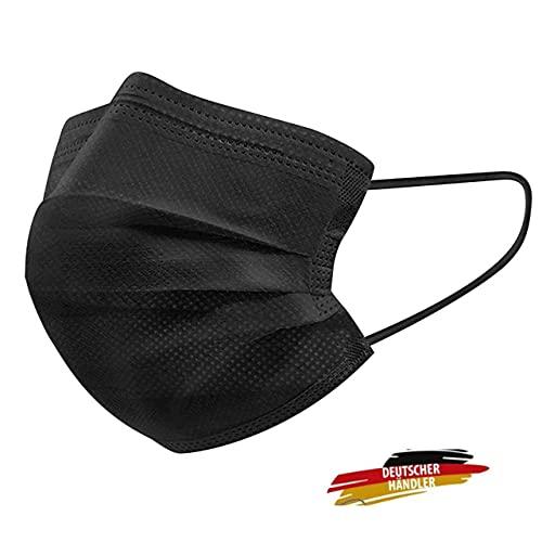 MASSIMO 007 50 Stück Schwarze Medizinisch Chirurgische Masken Type IIR Norm EN 14683 zertifizierte CE Mundschutzmasken OP Maske 3-lagig Mundschutz Gesichtsmaske Einwegmaske mund und nasenschutz