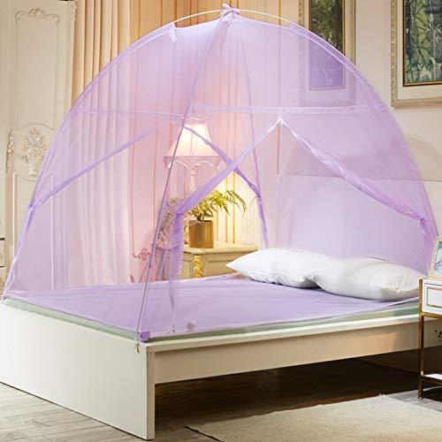 JUSUNG Jurte Moskitonetz,2 Offene Tür Faltnetze,Betthimmel Mit Reißverschluss,Pop Up Zelt,Anti-moskito Für Kinder Indoor Outdoor Violett 120cm