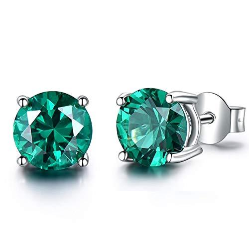 Dreamdge 925 Sterling Silver Earrings for Women Green, Stud Earrings Round Created Emerald Diameter 5mm