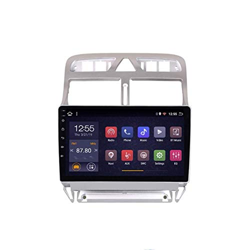 MMFXUE Android 8.1 Octa 8 Cores 2 + 32G 2.5D Pantalla DVD de Coche Reproductor de Video Navegación GPS Multimedia para Peugeot 307 2004-2013 Año, Control del Volante