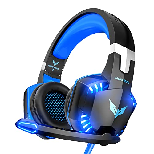 Gaming Headset Xbox One Headset with Stereo Surround Sound,PS4 Gaming Headset with Mic & LED Light Noise Cancelling Gaming Headphones with Microphone Compatible for PC,PS4,PS5,Xbox One
