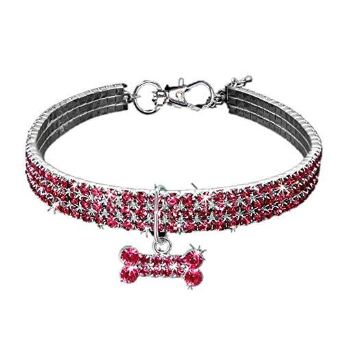 Yiyu Welpen-Hundehalsbänder Einstellbare Bling Strass Leine Halsband Für Small Medium Hunde Accessoires x (Color : Red, Size : M)