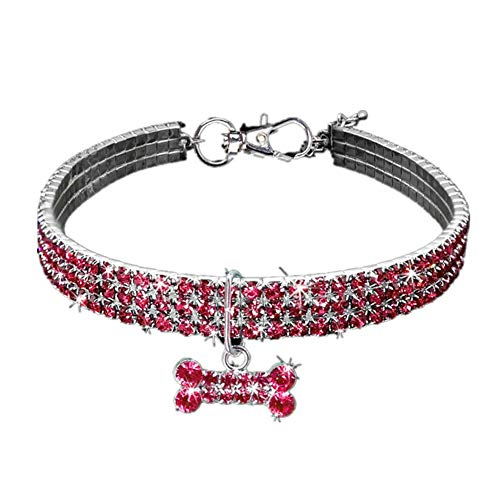 Yiyu Welpen-Hundehalsbänder Einstellbare Bling Strass Leine Halsband Für Small Medium Hunde Accessoires x (Color : Red, Size : M)