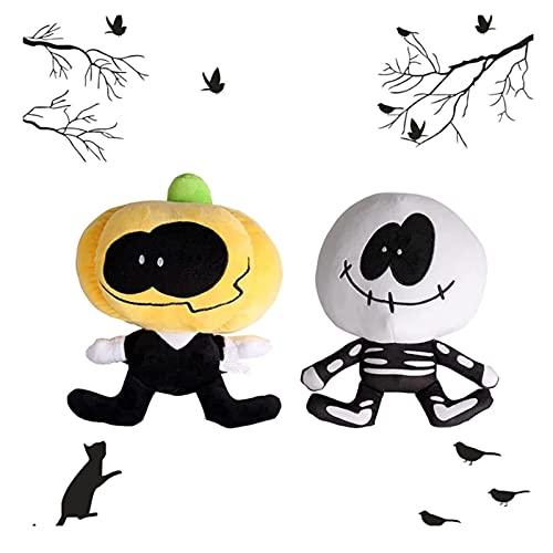 Zzlush Friday Night Funkin Plush toy-2PCS Skid and Pump Doll-9.84in Spooky Animal Stuffed-Halloween Regalo de cumpleaños para niños, decoración del hogar