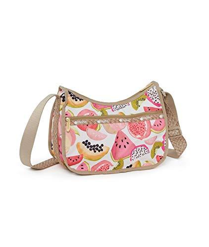 LeSportsac Palapa (Summer Fruits) Classic Hobo Crossbody Handbag + Cosmetic Bag, (Two Tone Braided Strap Design) Style 7520/Color F094