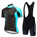 Ciclismo Jersey Set, Bicicletas manga corta conjunto hombres y mujeres secado rápido transpirable camisa 19D cojín pantalones cortos acolchados/babero corto, blanco, L