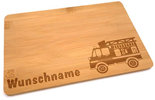 Samunshi® Holzbrett mit Gravur Feuerwehr aus Bambus Brett Frühstücksbrettchen Kinder als Holz Schneidebretter Holzbrett Küche Vesperbrett mit Moti