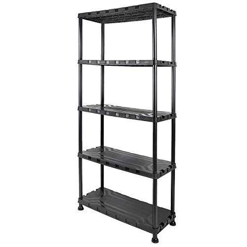 Clas Ohlson  5 Tier Plastic Shelving Unit, Weatherproof Shed Garage Storage - Lightweight, Compact & Easy to Build - Black, Height 171 cm