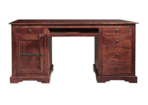 MASSIVMOEBEL24.DE Kolonialstil Schreibtisch Akazie Möbel massiv Oxford #522
