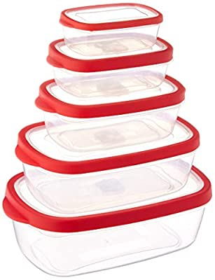 Stor-All Solutions Grip Tite Container Rectangle Food Storage Set, 10 Piece, Clear, 5