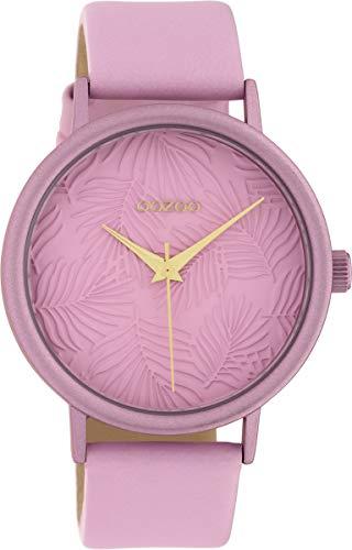 Oozoo Damenuhr mit Lederband 42 MM Colours of Summer Palmen Zifferblatt Unicolor Rosa C10174