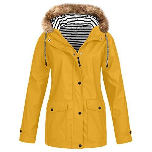 GOKOMO Jacke Mantel Damen Herbst Winter Damen Herbst Übergangsjacke Winter warme Jacke Winterjacke Outdoor(Gelb,XXXX-Large)