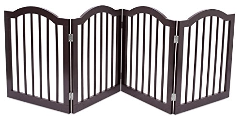 Internet's Best Dog Gate with Arched Top - 4 Panel - 24 Inch Step Over Fence - Free Standing Folding Z Shape Indoor Doorway Hall Stairs Pet Puppy Gate - Fully Assembled - Espresso - MDF