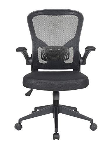 Requena Ergonomic Desk Chair, Mesh Chair with Flip-up Armrest & Lumbar Support, Computer Office Chair, Adjustable Height BOC116 (Black)