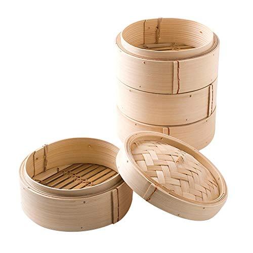 25,4 cm handgefertigter Bambus-Dampfgarer – zwei Ebenen gesundes Kochen für Gemüse, Dim Sum Dumpling & Bao Bun chinesische Lebensmittel Dampfgarer Dampfkörbe Reis, Fleisch Fisch