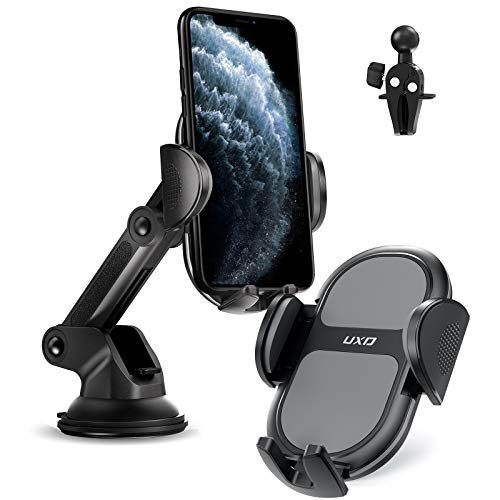 Car Phone Holders, UXD Car Phone Mount, Patented Phone Holders for Car Dashboard/Windshield/Air Vent, Compatible with iPhone 11 Pro Max Xs XR X 8, Galaxy S20+ S20 Note 10 9 Plus, Light Gray
