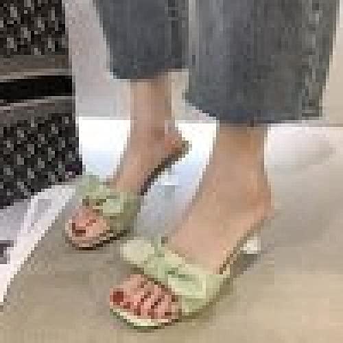 ypyrhh Sandalias Cómodo Casual Zapatos de Playa,Punta Abierta Alta con Sandalias, Lazos y Semi-Pantuflas-Verde Claro_40,Zapatillas Flip Flops Sandal
