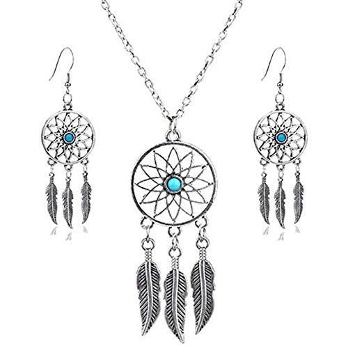 shoperama Juego de collar y pendientes de atrapasueños indios de estilo occidental