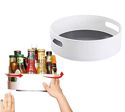JYSXAD Soporte de condimentos para Plato Giratorio Perezoso - Organizador Giratorio de plástico para Almacenamiento Estante de Especias Contenedor de Almacenamiento de Alimentos (Accesorios)