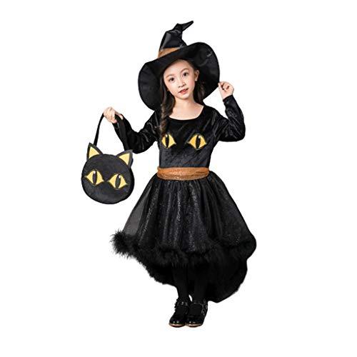 Disfraces de halloween para Nios Disfraces Halloween Nia con un tocado y bolso, desgaste del funcionamiento de Cosplay de la bruja de la celebracin de das sombrero vestido del desfile Disfraces