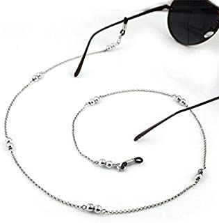 Gold/Silver Color Casual Beaded Eyewear Sunglasses Neck Strap Rope Reading Glasses Chain Cord Holder,Silver