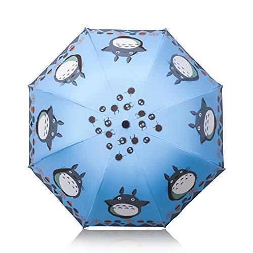 Finex Regenschirm oder manueller Regenschirm mit automatischem Öffnen/Schließen, Winddicht, ultradünn, kompakt für einfaches Tragen Himmelblau (Totoro) Einheitsgröße