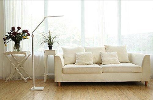 Staande lamp lees/staande lamp, vloer leeslampen, pianoverlichting, metaal, LED (zwart zilver) - goud LED (kleur: zilver)