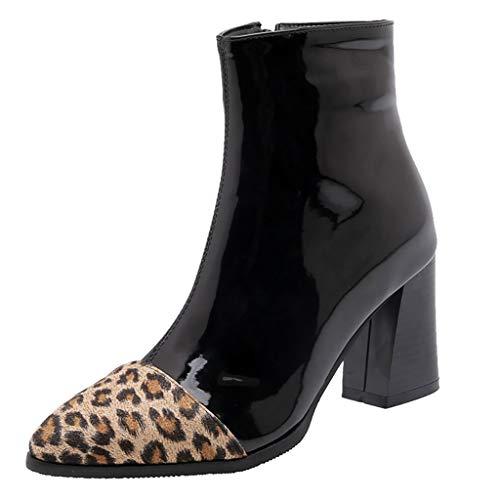 Botines de Tacón de Aguja con Estampada de Leopardo Sexy de Mujer TOPKEAL Botas de Estilete de Grano Costura de Color