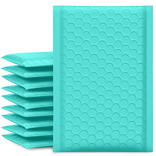 UCGOU Bubble Mailers 4x8 Inch Teal 50 Pack Poly Padded Envelopes Small Business Mailing Packages Opaque Self Seal Adhesive Waterproof Boutique Shipping Bags for Jewelry Makeup Supplies #000
