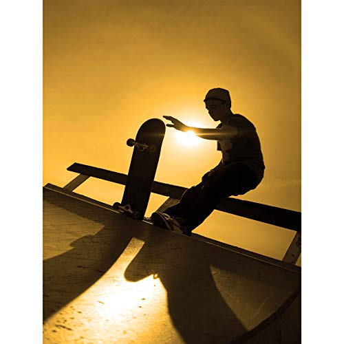 Wee Blue Coo Prints Photography Sport Skateboarding Silhouette Skater Sun Art 30x40 cms Poster Print Foto TAFEL