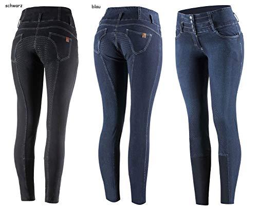 netproshop Damen Jeans Reithose Liza Hoher Bund Silikon Vollbesatz Blau o. Schwarz Gr.36-46, Damengroesse:38, Farbe:Dunkelblau