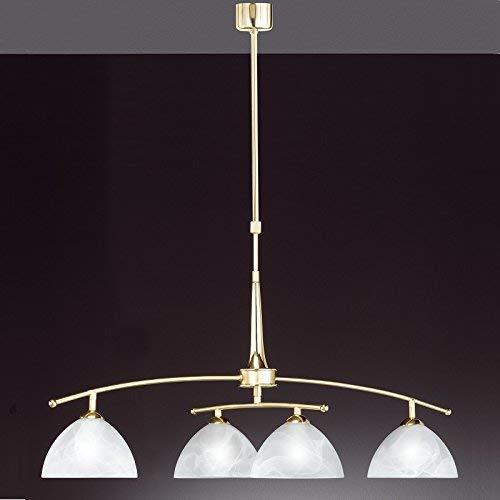4-flammige Lámpara Colgante En Latón Mate - Ajustable En Altura Y Ancho - Incluye Bombillas 4x E14 25W