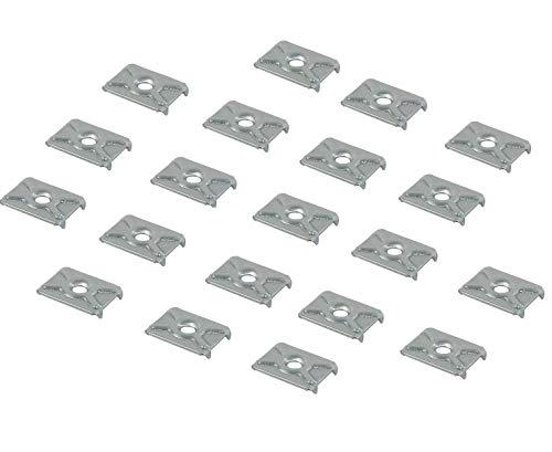 Gedotec Möbelverbinder für Kleiderschrank Möbel-Klammer zum Befestigen - H3501 | Rückwand-Klammer Stahl verzinkt | Schrank-Verbinder für Möbel-Rückwände | 100 Stück - Rückwand-Verbinder zum Schrauben