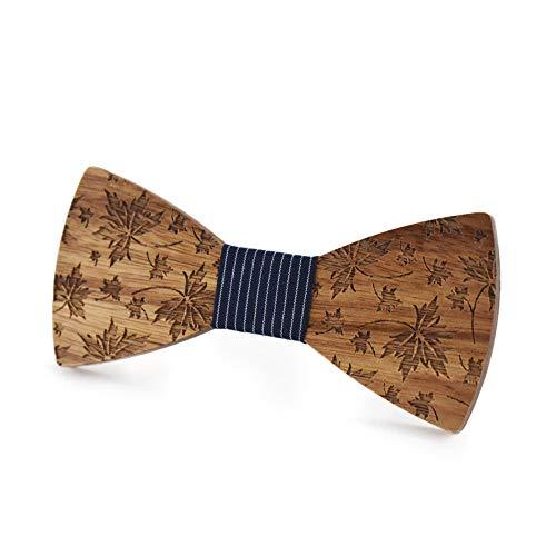 Pajarita de madera Hombres y mujeres de madera pajarita superficie repujada hoja de arce tallado corbata gemelos flor pañuelo negocio mariposa conjunto ( Color : Negro , tamaño : 5*9.5cm )