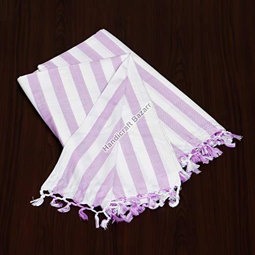 Handicraft Bazarr Colcha de algodón con borlas, fundas para dormir, sábana de cama, colcha vintage a rayas, fundas para el cuerpo, 222 x 150 cm