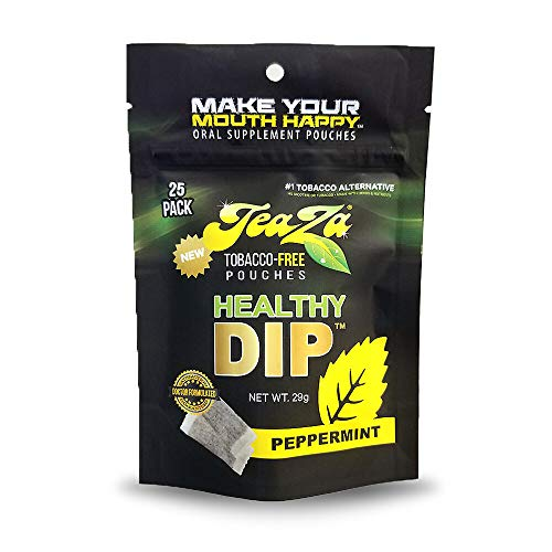 TeaZa Herbal Energy Pouch - Tobacco Alternative | 25 Pouch Pack | Peppermint