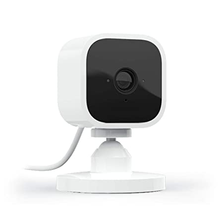 Blink Mini – Compact indoor plug-in smart security camera, 1080 HD video, night vision, motion detection, two-way audio, Works with Alexa