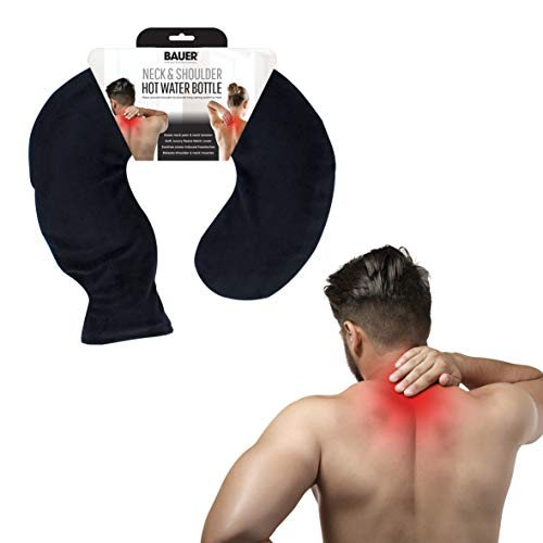 Bauer Wärmflasche für Nacken- und Schulterbereich, mit weichem Fleece-Bezug